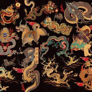Dragons Of Tibet Set 3 role tapet, Netesut, Multicolor