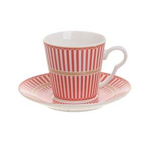 Ela Set 6 cesti si farfurioare cafea, Portelan, Roșu