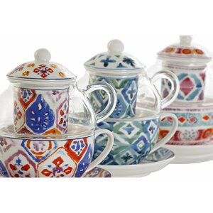 Ellki Ceainic cu 3 recipiente, Portelan, Multicolor