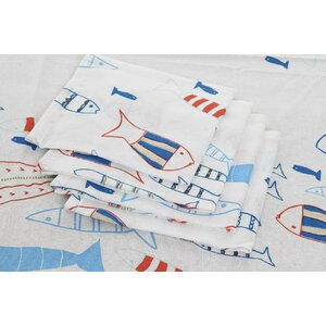 Fishes Set fata de masa 8 piese, Bumbac, Albastru