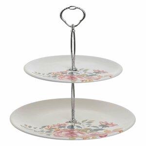 Flora Platou prajituri etajat, Ceramica, Alb