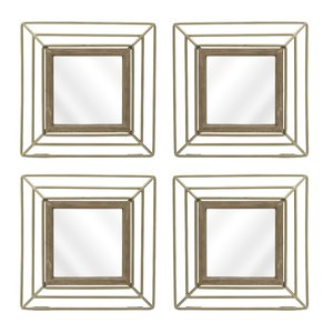 Geometrics Set 4 Oglinzi, Metal, Bej