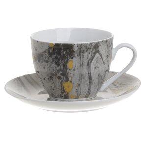 Iris Set 6 cesti si 6 farfurioare ceai, Portelan, Gri