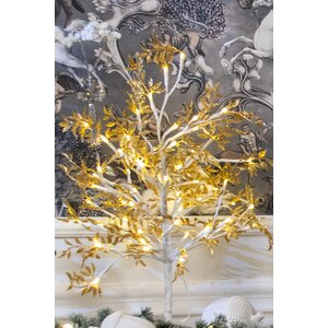 Jacob Copac artificial mic cu LED, Metal, Auriu
