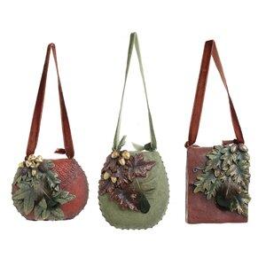 Joey Set 3 Decoratiuni geanta, Polirasina, Verde