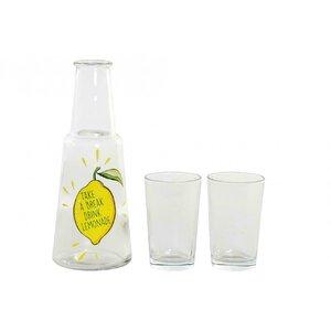 Lemon Set limonada 3 piese, Sticla, Transparent