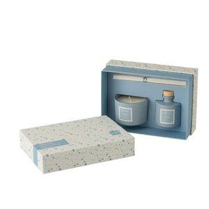 Malcom Set Difuzor uleiuri esentiale si lumanare parfumata, Sticla, Albastru