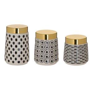 Ming Set 3 Borcane cu capac, Ceramica, Auriu