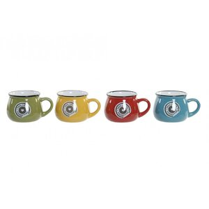 Mug Set 4 cani cafea, Ceramica, Multicolor