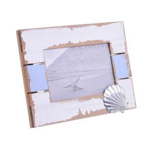 Ocean Shell Rama Foto, Lemn, Albastru