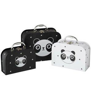 Panda Set 3 cutii depozitare copii, Carton, Negru