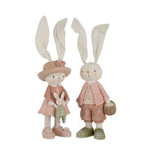 Rabbit Dressed Set 2 decoratiuni, Polirasina, Multicolor