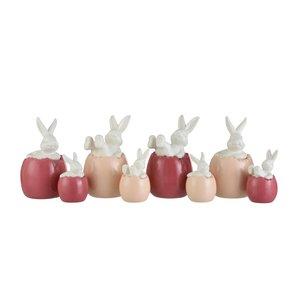 Rabbit Egg Set 4 Decoratiuni, Portelan, Multicolor