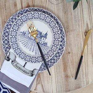 Royal Set 6 farfurii desert, Ceramica, Albastru