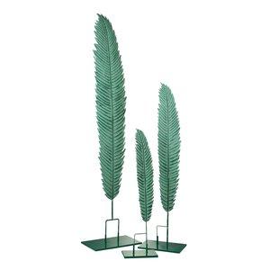 Stalk Decoratiune pana mare, Metal, Verde