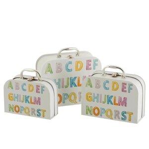Suitcase Set 3 cutii depozitare copii, Carton, Multicolor