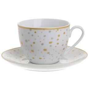Bully Set 6 cesti si 6 farfurioare ceai, Portelan, Multicolor