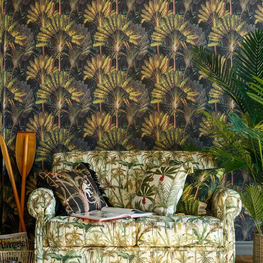 Travellers Palm Sunset Set Role Tapet Netesut Verde