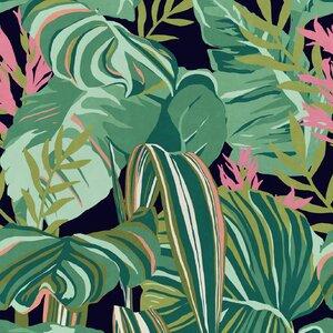Tropical Foliage Anthracite Set 3 role tapet, Netesut, Multicolor
