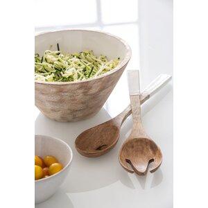 Woddy Set 2 ustensile salata, Lemn, Alb