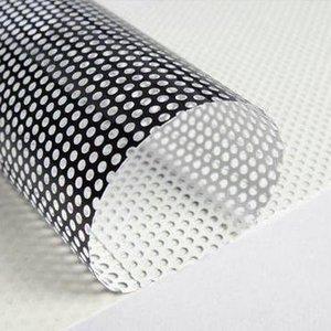 Folie One Way Vision MacroMedia, albă, lucioasă, adeziv removable, spate negru, 140 grame