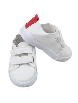 Adidasi Aibbos cu deschidere in arici model alb-logo rosu