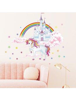 Autocolant de perete castel în norilor și unicorn 85x96cm