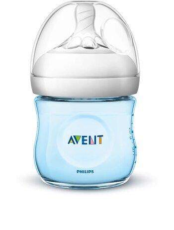 Biberon Natural Philips-Avent SCF032/17, cu tetina debitlent, Bleu, 125 ml