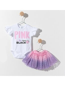 Body cu fustita PINK is the new Black model alb-roz