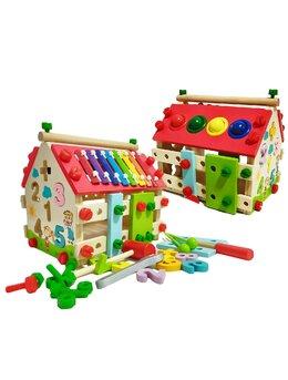 Casa de asamblat multifunctionala din lemn 4 in 1