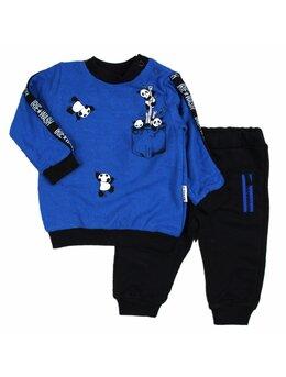 Compleu 2 piese Panda albastru
