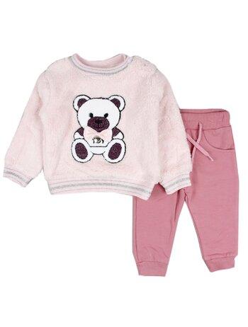 Compleu cu bluzita cocolino ursulet roz