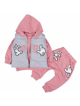 Compleu Minnie cu vesta model roz prăfuit