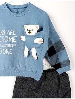 Compleu ursulet cu buzunar model albastru