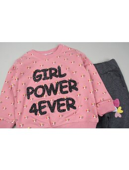 Compleu vatuit GIRL POWER roz prafuit
