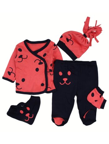 Costumas 5 piese baby coral