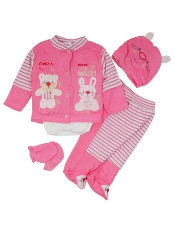 Costumas 5 piese bumbac roz