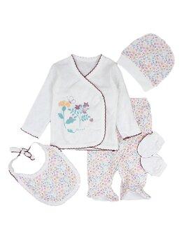 Costumas 5 piese floricele brodat alb