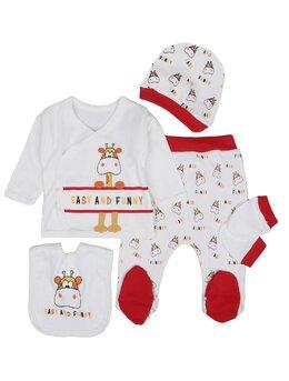Costumaș girafa băieței 5 piese model roșu