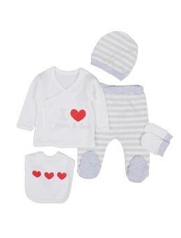 Costumaș I love MOM DAD 5 piese model gri