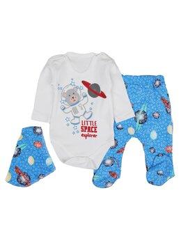 Costumaș LITTLE SPACE băieței 3 piese model albastru