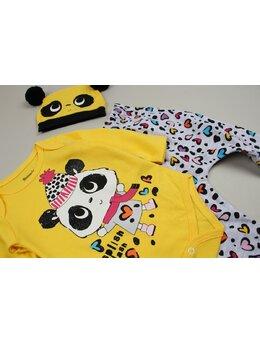Costumas ursulet cu caciulita model galben