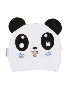Fes bumbac panda model alb-inimioare bleu