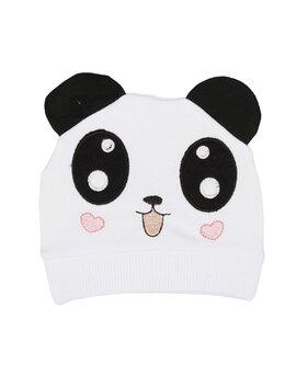 Fes bumbac panda model alb-inimioare roz