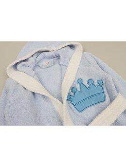 Halat de baie coroniță model bleu