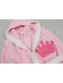 Halat de baie coroniță model roz