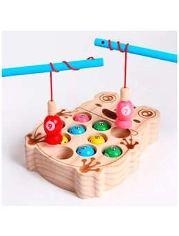 Joc de pescuit magnetic in forma de broscuta din lemn