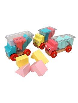 Jucarii camioane lemn puzzle
