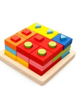 Montessori Coloane sortator forme geometrice din lemn