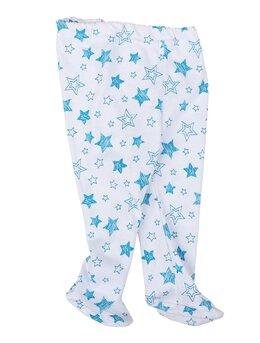 Pantaloni cu botosei albi cu stele turcoaz